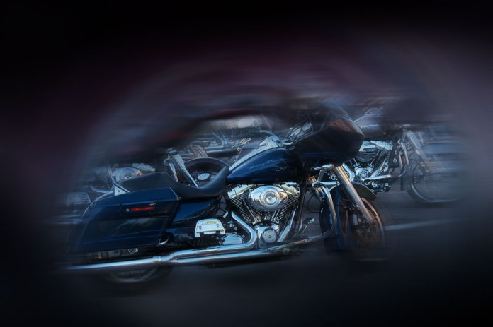 Stylized photo of a Harley Davidson motorcycle