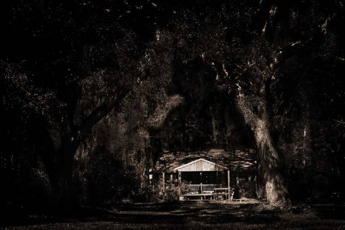Dark photograph of a home surrounded by Live Oak trees draped in Spanish Moss.