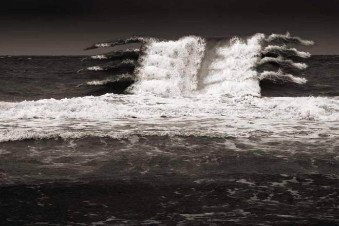 Digitally manipulated photo of waves on the Gulf of Mexico.
